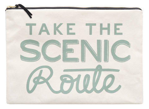"""Take the scenic route"" large travel pouch"