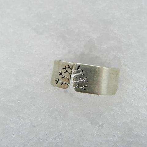 Winter tree design handmade ring