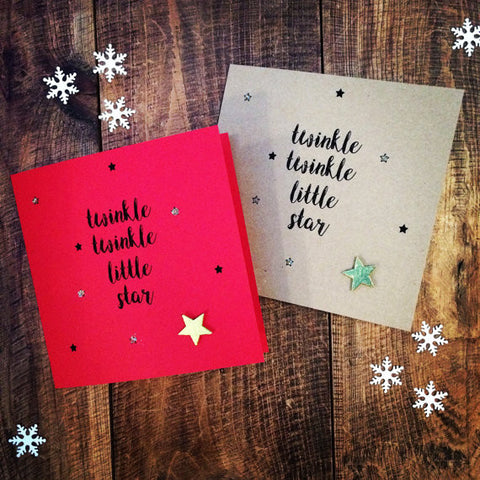 "Handmade ""twinkle, twinkle little star"" pack of two cards"