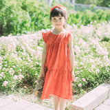 Red kids linen dresses girls summer sleeveless dresses