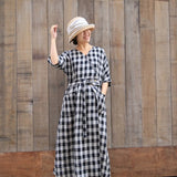 Plaid-linen-women-dresses