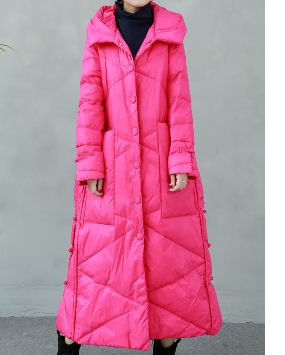 Long Winter Duck Down Jacket Hooded Down Jacket Women Plus Size