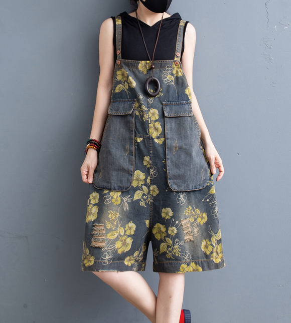 Floral Denim Loose Casual Summer Overall Loose Women Jumpsuits QYCQ05165
