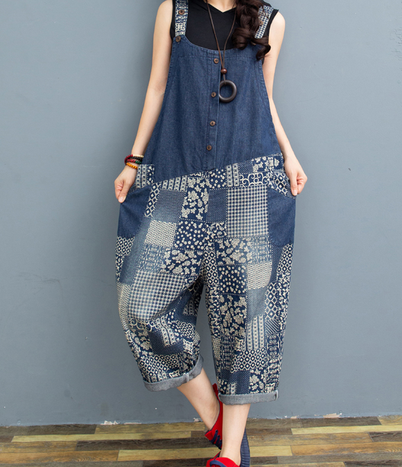 Blue Floral Denim Loose Casual Summer Overall Loose Women Jumpsuits QYCQ05165