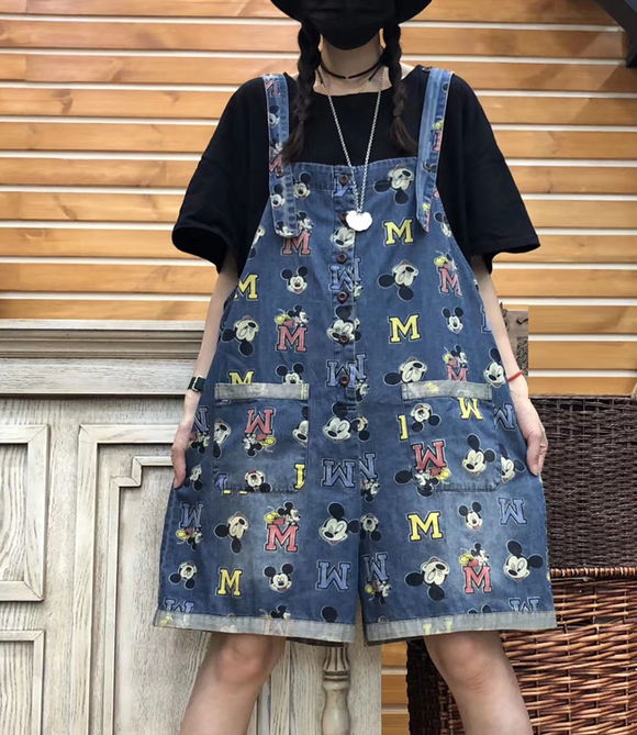 Alphabet Cartoon Denim Silk Loose Casual Summer Overall Women Jumpsuits QYCQ05165