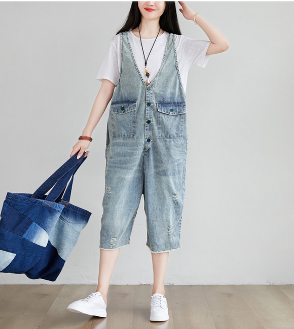 Blue Denim Loose Casual Summer Overall Loose Women Jumpsuits QYCQ05165