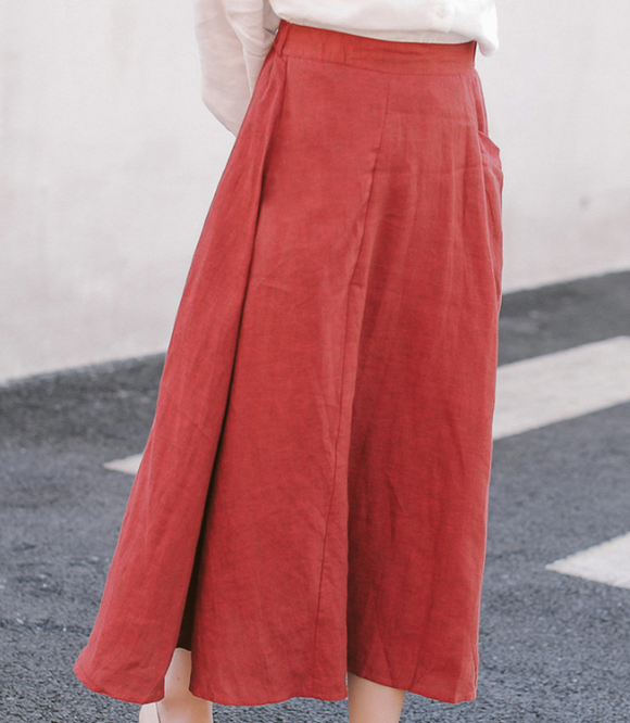 Red Women's Skirts Summer Linen Skirt Elastic Waist SJ09755