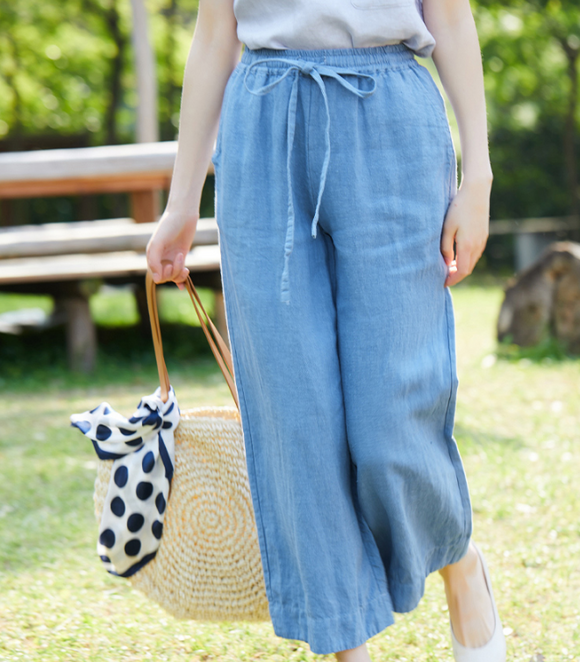 Summer Loose Wide Leg Women Casual Pants Elastic Waist WG05131