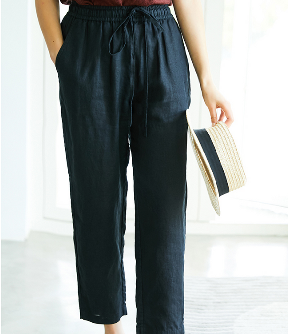Summer Linen Women Casual Pants Elastic Waist SJ05131
