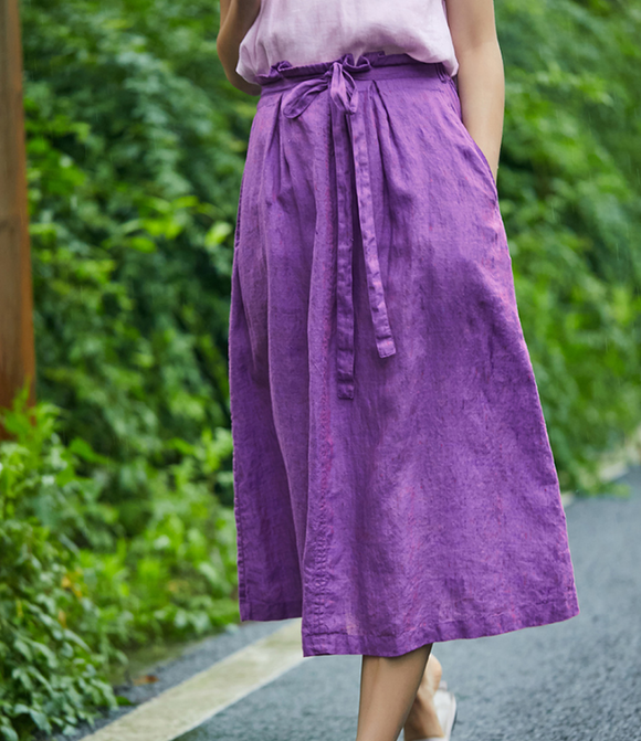 Purple Women's Skirts Summer Linen Skirt Elastic Waist SJ09755