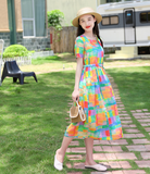 Yellow Floral Women Dresses Casual Summer Linen Women Dresses SJ97215