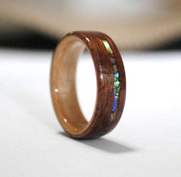 Original Design Wood Ring Engagement Ring Handmade Walnut Abalone Shell Gift Custom Made Wooden