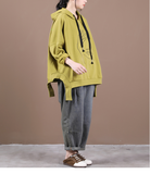 Women Spring Casual Irregular Hem Coat Loose Draw String Hooded  Plus Size  Coat Jacket