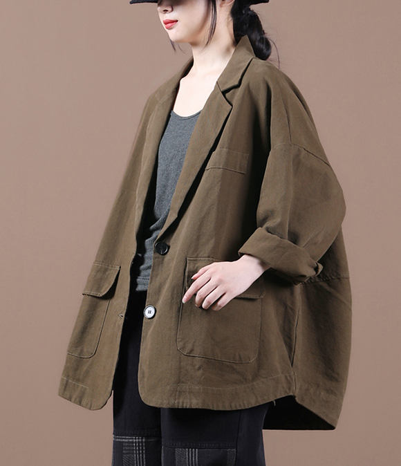 Women Spring Casual Coat Loose Buttons Plus Size Coat Jacket