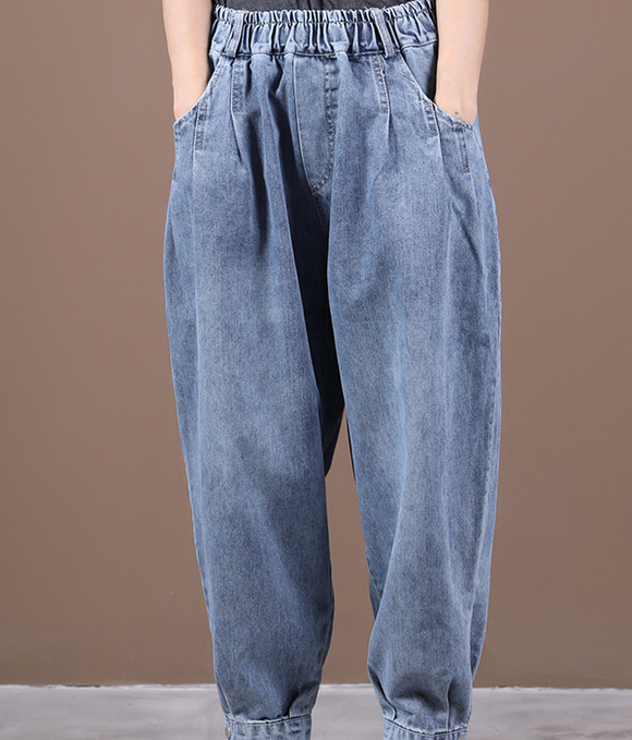 Autumn Washed Denim Wide Leg Women Casual Pants Elastic Waist WG05131