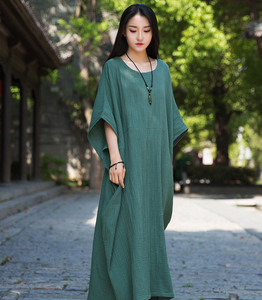 Short Sleeve Women Dresses Casual Linen Cotton Women Dresses Loose StyleBXF97215