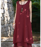 Sleeveless Women Dresses Casual Linen Cotton Women Dresses Loose StyleBXF97215