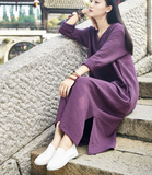 Women Dresses Casual Linen Cotton Women Dresses Loose Style Chinese Buttons BXF97215