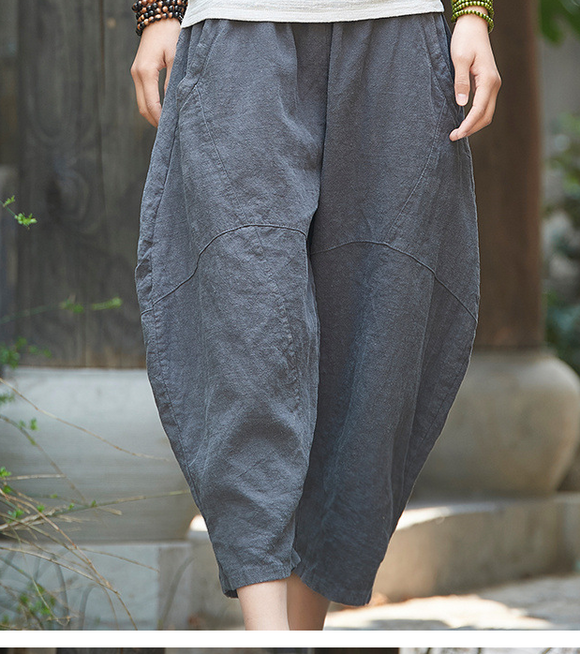Summer Linen Wide Leg Women Casual Pants Elastic Waist WG05131