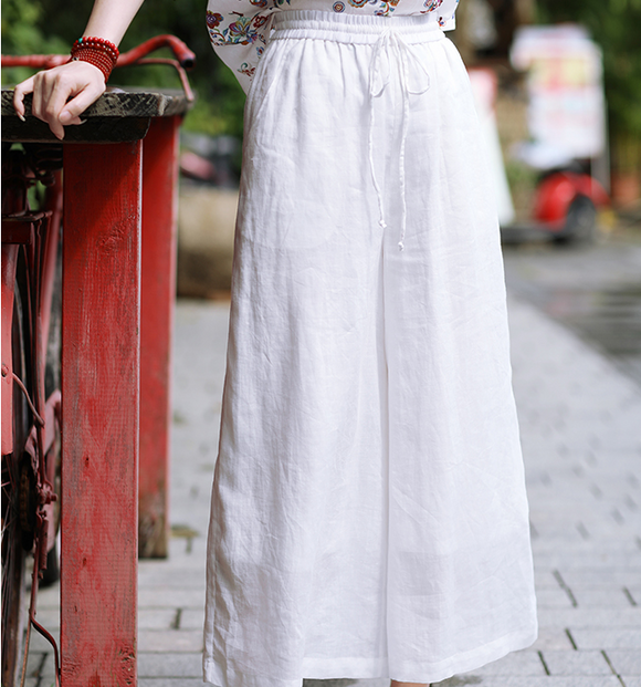 White Linen Wide Leg Women Casual Pants SJ97235