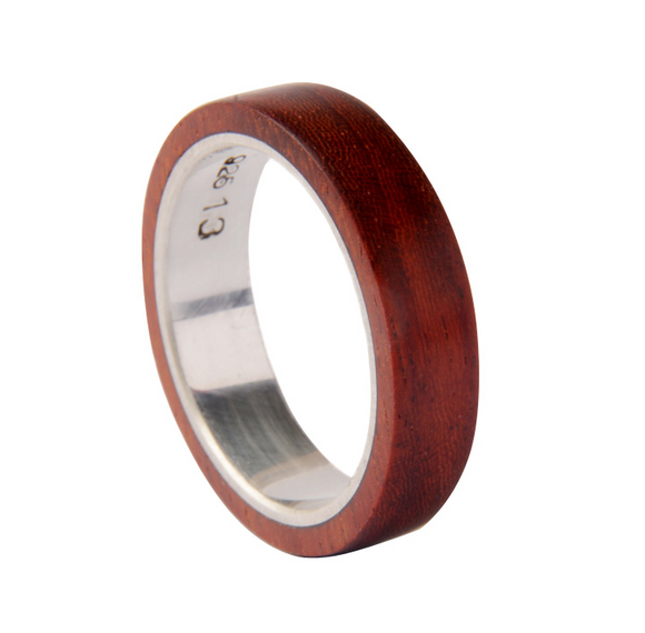 Original Design Wood Ring Men's Handmade Walnut Silver Gift Custom Made Wooden Rings