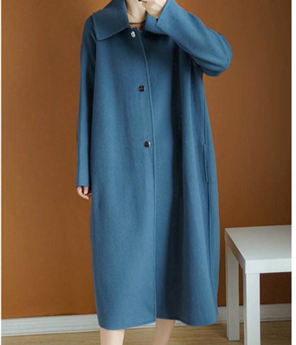Double Face Cashmere Coat Handmade Long Warm Long Women Wool Coat Jacket