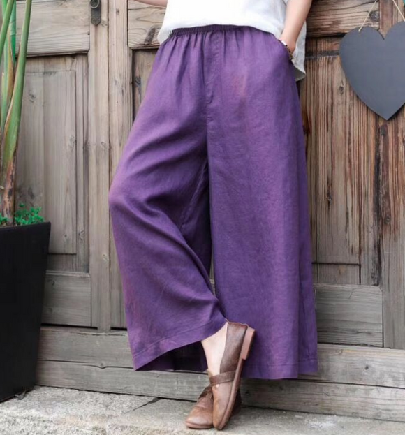 Linen Wide Leg Women Casual Pants SJ97235