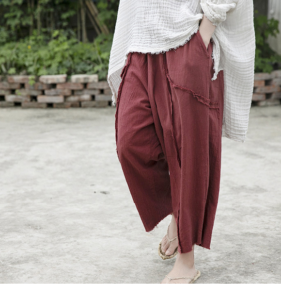 Red Autum Spring Linen Wide Leg Women Casual Pants Elastic Waist WG05131