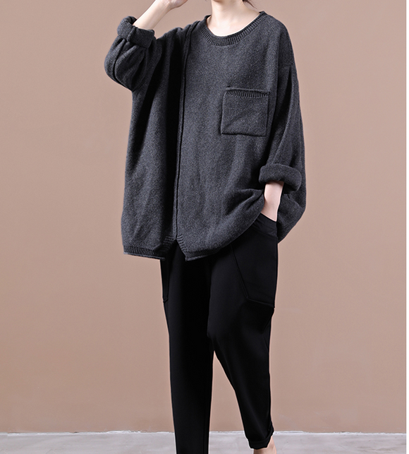 Black Loose Sweater Fall Women Cotton Tops Women Blouse Overall H9506