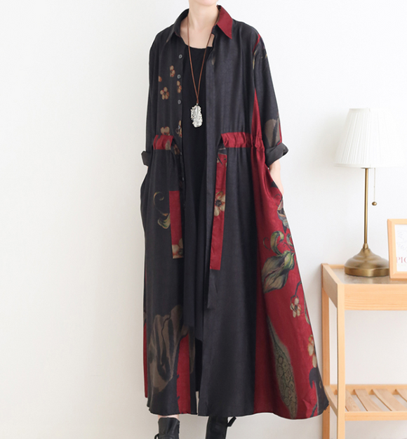 Red Loose Fall Floral Women Coat Long Sleeve Women Linen Trench Coat S90921