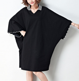Black Plus Size Women Dresses Casual Loose Print Women Dresses SSM97215