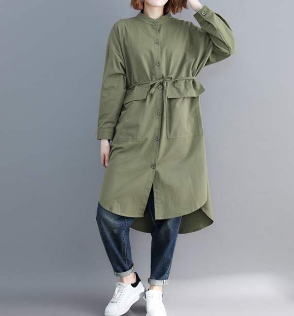 Army Green Shirts Plus Size Dresses Casual Loose Women Dresses SSM97215