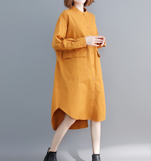 Yellow Shirts Plus Size Dresses Casual Loose Women Dresses SSM97215