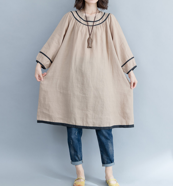 Loose Fall Pleated O Neck Dresses Casual Women Dresses SSM97213