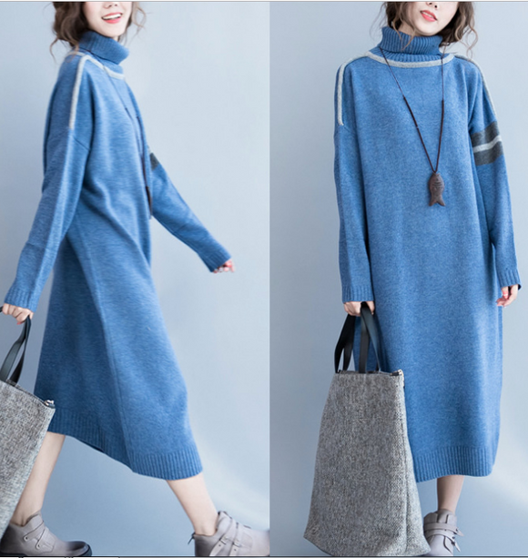 Loose Fall High Collar Knit Dresses Casual Women Dresses SSM97213