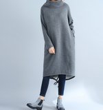 High Collar Fleece Loose Fall Dresses Casual Women Dresses SSM97213