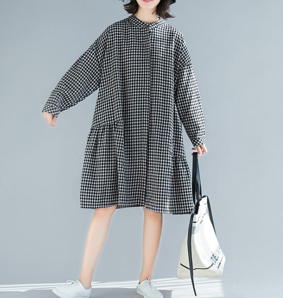 Gray Checked Skirts Dresses Loose Fall Dresses Casual Women Dresses SSM97213