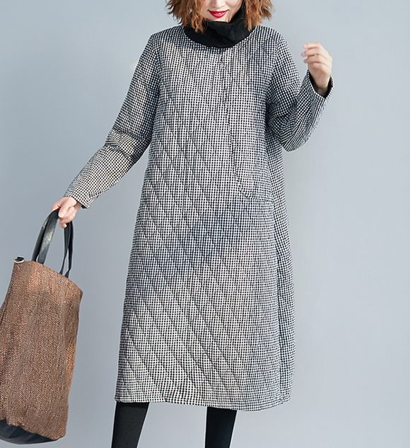 Gray Checked Dresses Loose Fall Dresses Casual Women Dresses SSM97213