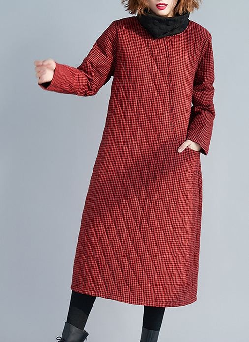Red Winter Checked Dresses Loose Fall Dresses Casual Women Dresses SSM97213