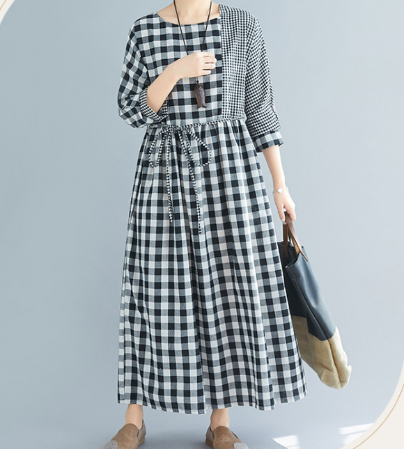 Checked Dresses Loose Fall Dresses Casual Women Dresses SSM97213