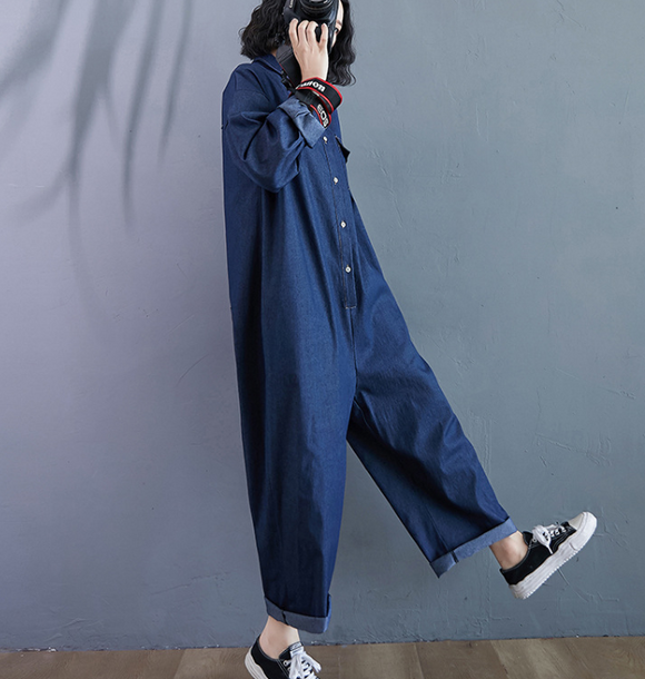 Denim Cotton Loose Casual Autumn Overall Loose Women Jumpsuits QYCQ05165