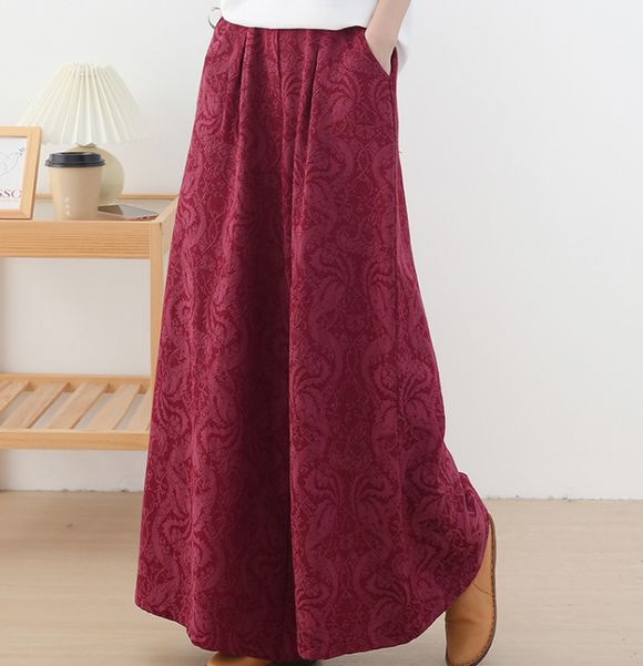 Jacquard Cotton Linen Autum Wide Leg Women Casual Pants Elastic Waist WG05131