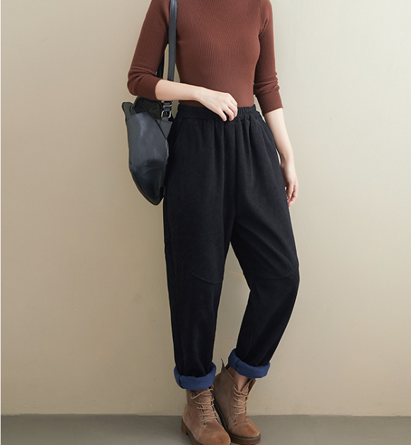 Corduroy  Stitching Harem Autumn Fleece Women Cotton Wide Leg Pants