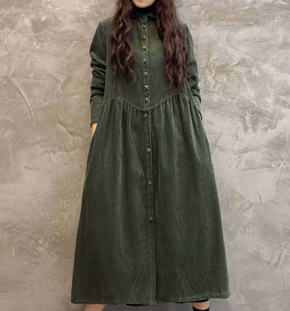 Green Buttons Dresses Loose Winter Autumn Dresses Casual Women Dresses ZRL97213