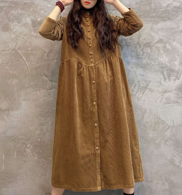 Corduroy Buttons Dresses Loose Winter Autumn Dresses Casual Women Dresses ZRL97213