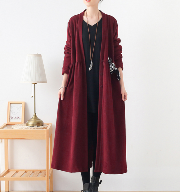 V Neck Corduroy Buttons Dresses Loose Winter Autumn Dresses Casual Women Dresses ZRL97213