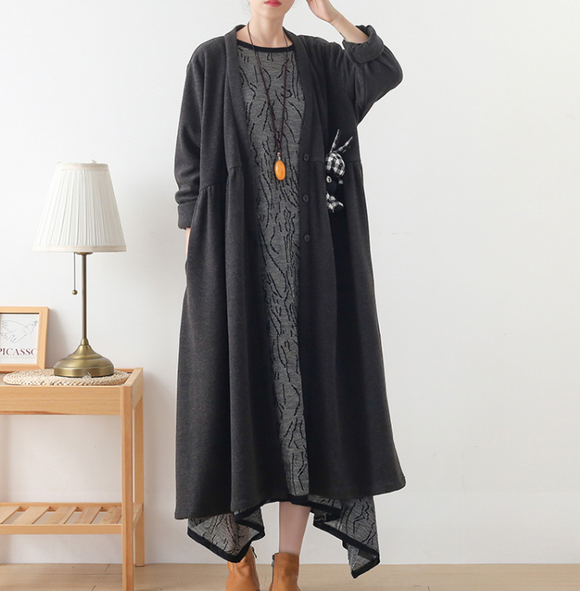 Gray V Neck Corduroy Buttons Dresses Loose Winter Autumn Dresses Casual Women Dresses ZRL97213