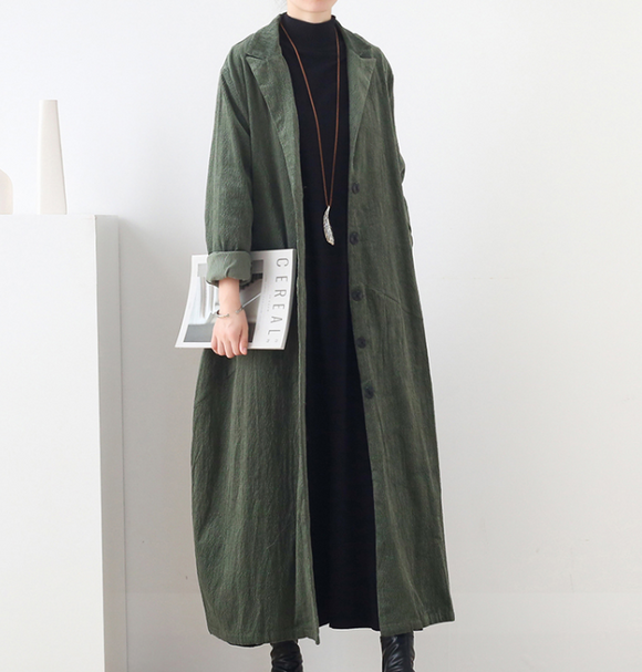 Cotton Winter Autumn Women Casual Coat Loose Long Trench Coat Jacket