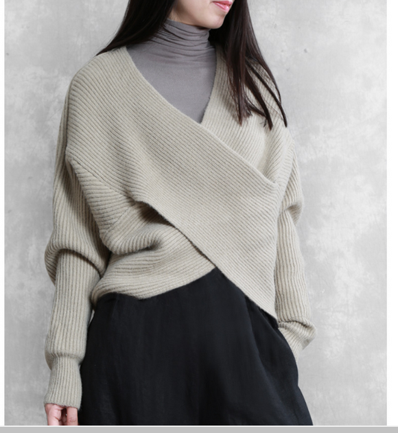 X Style Sleeve loose Style Women Top Woolen Knit Sweater V Neck