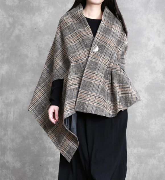 Plaid Women Winter Irregular Women Wool Coat Jacket Cloak